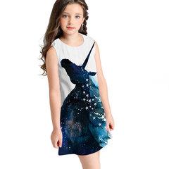 Printed girls sleeveless dress fashion loose children's princess skirt fashion trend 05 blue S