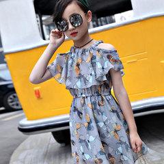 Cuhk children's iris dress princess dress 2019 summer girls new chiffon strapless dress The picture color 110CM