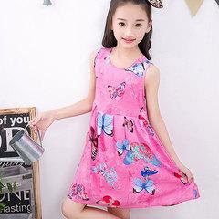 2019 summer lovely princess girl floral dress belt silk girls floral dress pink 110cm