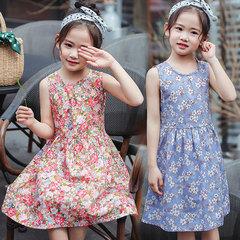Children's dress summer dress 2019 new Korean version of summer baby dress girl princess skirt The pink flower 110cm