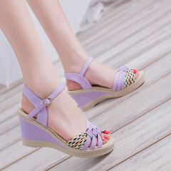 The new Korean version of the trendy sandals for women in the summer of 2019 purple 36