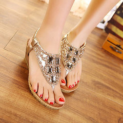 Bohemian beaded rhinestone sandals with clip-on wedges silver 35