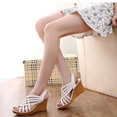 2019 summer fashion all-in-one fish-mouth sandals with hollowed-out wedge heels for women Rice white 36