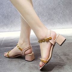 The new 2019 spring fashion strappy women's shoes go well with the Korean version of the fairy heels pink 36