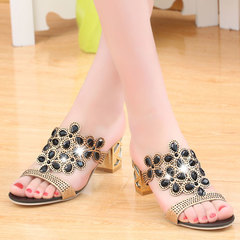 New women's sandals summer fashion women's slippers in rough with fish mouth drilling women's shoes black 36