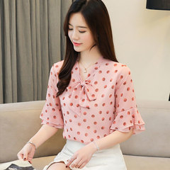 New summer Korean bodot print chiffon blouse with bow tie, short sleeve and versatile blouse blue S