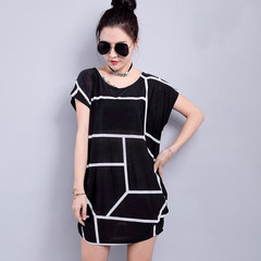 Ice silk summer dress large round collar short sleeve T-shirt Ice silk - 01 B All code