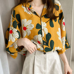 2019 summer dress new Hong Kong style printed shirt women's three-quarter sleeve shirt loose lining yellow m