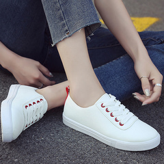 Small white shoes women 2019 spring new student sneaker belt casual board shoes Article black. 35