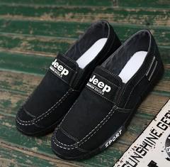 New men's shoes: men's earth washed denim canvas shoes, work shoes, cloth shoes TB03 black 39