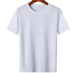 Men's short-sleeved loose-fitting half-sleeve primer plain T-shirt summer plus-size casual T-shirt white M