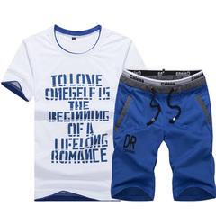 Summer short-sleeved T-shirt set men's shorts summer casual sport loose size five-minute pants blue M