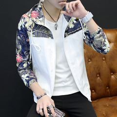 The new 2019 men's outerwear trend goes with students' casual popular logo work jacket men white M