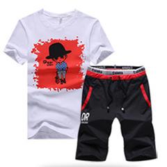 Men's summer sportswear new trend men's T-shirt youth casual short sleeve two-piece cartoon red M