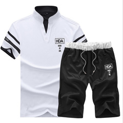 Thin short-sleeved shorts are a fashionable casual sport suit with half sleeves in summer white M
