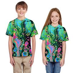 New children's short sleeve girl's blouse with seaweed oil painting digital print T-shirt BIJ002 S(125cm-135cm)