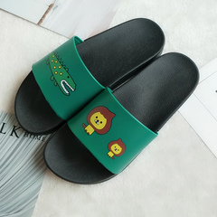 European and American simple non-slip slippers male bath bath home slippers green 36