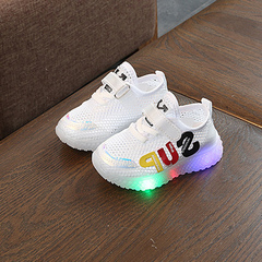 Bright light baby sports shoes breathable baby toddler shoes non-slip soft bottom hollow shoes white 21
