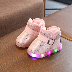 Big cotton and velvet children's shoes with bright lights ugg boots for boys and girls aged 1-5 pink 21