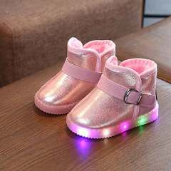 Winter new boy's shoes 3 girl's toddler shoes 1 to 5 1/2 year old cotton-padded shoes pink Size 21 with a 13cm inside