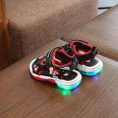 Baby sandals with lights on children shoes for boys 1-3 years old cartoon shoes for girls B02 blue 21