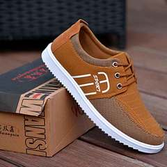 Breathable man's shoes men's casual non-slip board shoes canvas shoes men's running shoes yellow 38