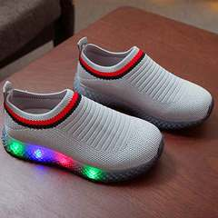 Light shoes for boys and girls flash shoes for children children's soft soles with light shoes gray 21