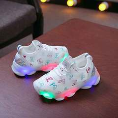 New children's light shoes led light sneakers light shoes for boys and girls mesh fabric breathable white 20