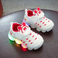 Caterpillar light shoes new light shoes children's light shoes soft soles flash shoes white 21