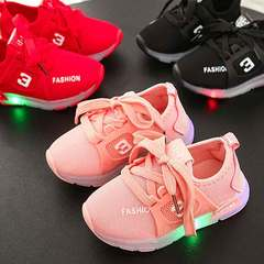 New children's luminous shoes children's non-slip running shoes breathable light shoes pink 21