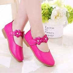 New children's single shoes soft soled flower girl shoes large child princess shoes baby shoes Bright red 21
