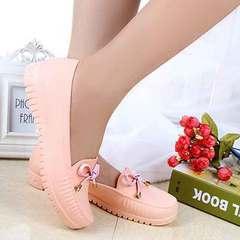 Doudou shoes non-skid nurse's rain shoes shallow mouth low top kitchen casual single shoes pink 36