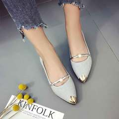 New casual pointed shoes women's shoes comfortable fashion workplace shoes silver 35