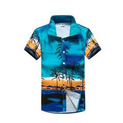 Holiday casual coconut couple shirt print beach shirt 30 blue M