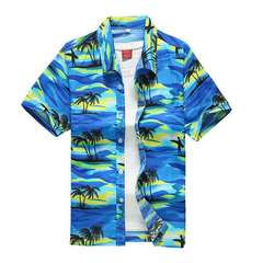 Men's printed short-sleeved shirt size men's quick dry beach shirt loose casual shorts 75 coconut blue S