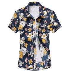 Summer short-sleeved shirt loose beach flower shirt seaside holiday travel short-sleeved shirt Cotton blue S