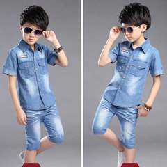 Boy's summer jacket short-sleeved denim suit summer 2019 new two-piece children's shirt Graph coloring 120 yards [recommended height: 110CM or so] The cowboy cotton