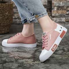 Canvas shoes small white shoes casual women's shoes kitten student shoes low top flat shoes pink 33