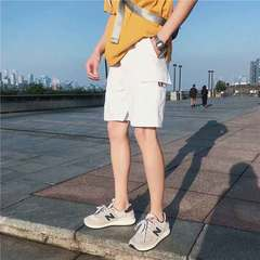 Men's summer casual five-cent shorts students go with the new 2019 trend of loose-fitting midriffs 337 white M