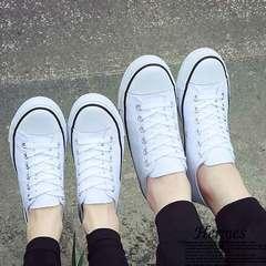 New black men's shoes canvas shoes female students low top simple vulcanization leisure white 35