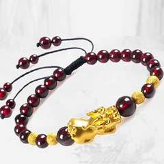 3D hard golden gold pixiu bracelet man operation bead bracelet female hand string lovers garnet The picture color Circumference is about 16cm [adjustable]