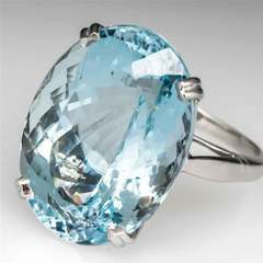 Fashion engagement proposal goose egg diamond ring set with sea blue topaz ring navy No. 5