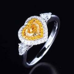 Brilliant heart set diamond diamond ring set diamond diamond ring ring yellow No. 6