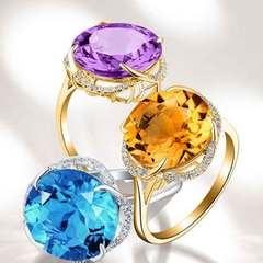 Gold set amethyst sea blue topaz color gemstone opening ring lady Purple and gold Opening adjustable