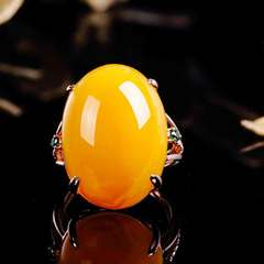 Rose gold imitation wax ring gold inlaid with chicken oil yellow amber zircon ring Imitation wax Opening adjustable