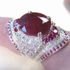 American engagement ring with natural ruby - plated silver ring red No. 6