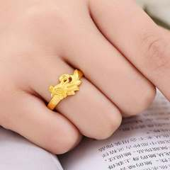 3D gold ring dragon and phoenix gold ring wedding couple ring Dragon [adjustable opening] Opening adjustable