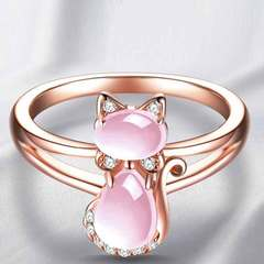Rose plated natural pink crystal pink cat ring hibiscus crystal inlaid diamond ring 30% copper rose gold No. 6