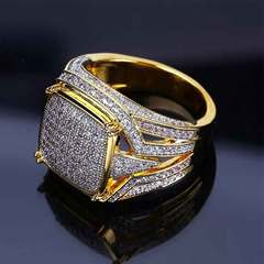 New gold plated square male full diamond ring engagement ring Color separation No. 7
