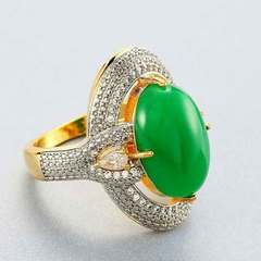 Gold plated separations for women set with emerald jasper micro set with diamond rings Synthetic Malay jade No. 6
